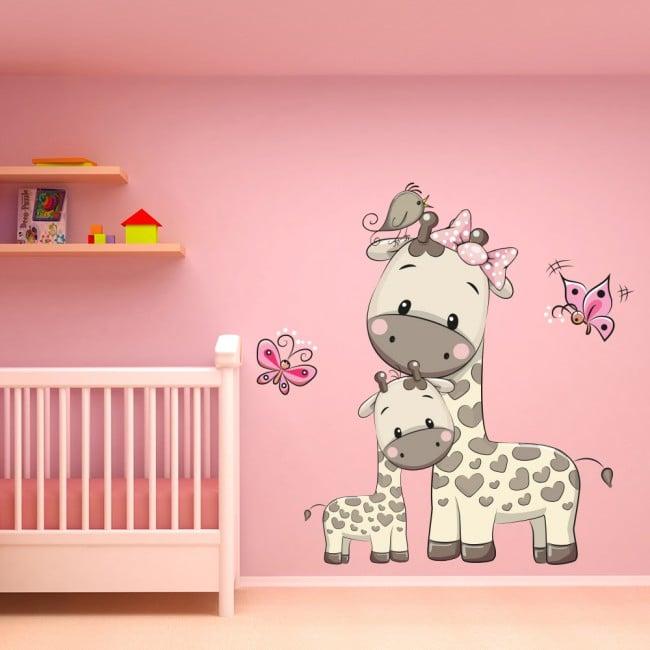 Giraffe Amp Butterfly Nursery Wall Sticker Animals Girls