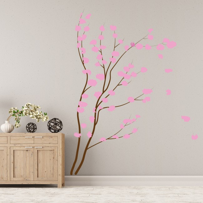 Pink Cherry Blossom Wall Sticker Tree Flower Wall Decal