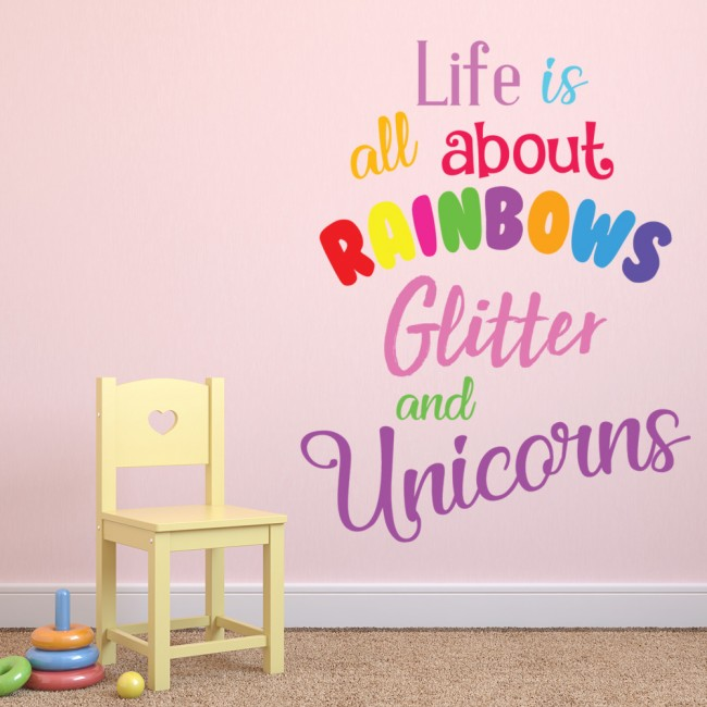 rainbows & glitter unicorn quote wall sticker
