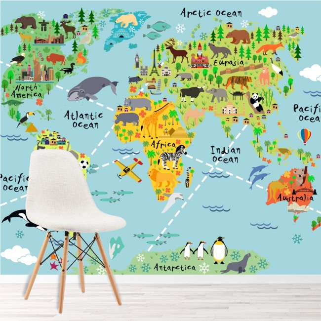 Animal world map wall mural childrens photo wallpaper kids bedroom ws 42154 01g gumiabroncs Gallery