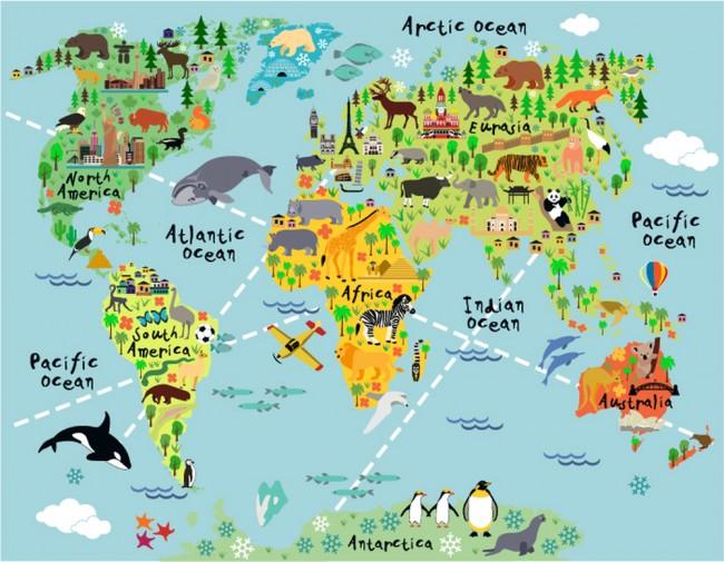 Animal World Map Wall Mural Wallpaper