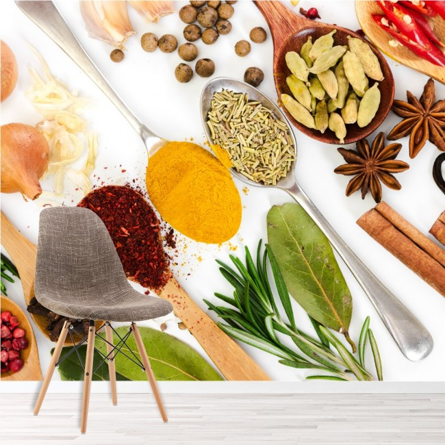 Spices & Spoons Kitchen Wall Mural Wallpaper