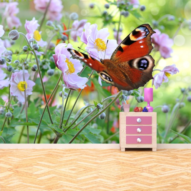 Peacock butterfly wall mural pink flower photo wallpaper for Butterfly mural