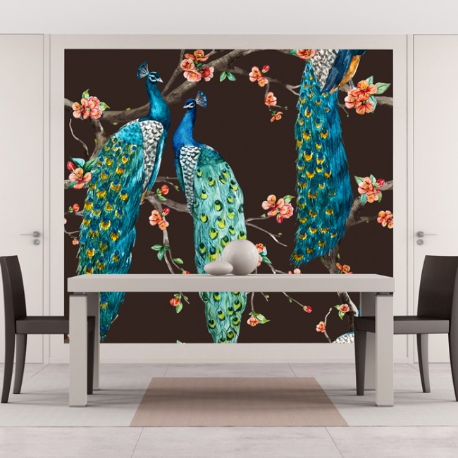 Apartment Blue Book: Blue Peacock Wall Mural Pink Cherry Blossom Photo