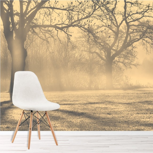 Misty Trees Wall Mural Forest Landscape Photo Wallpaper Living Room ...