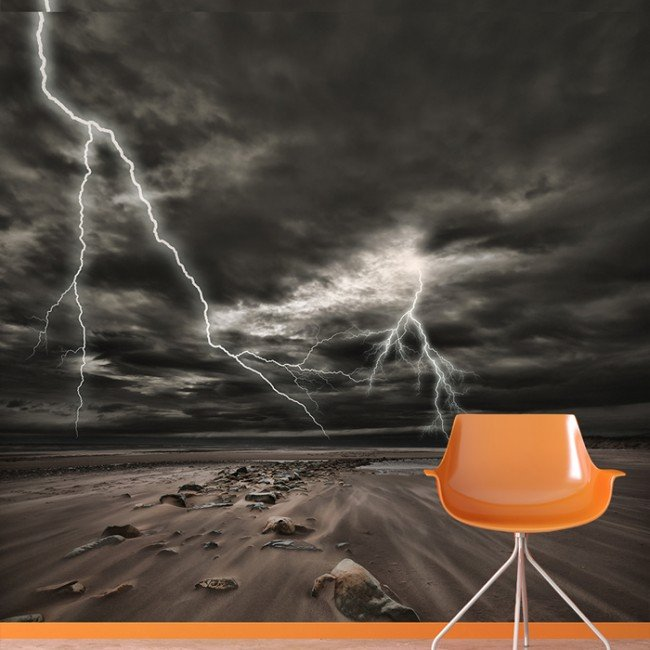 Thunderstorm Lightning Wall Mural Wallpaper