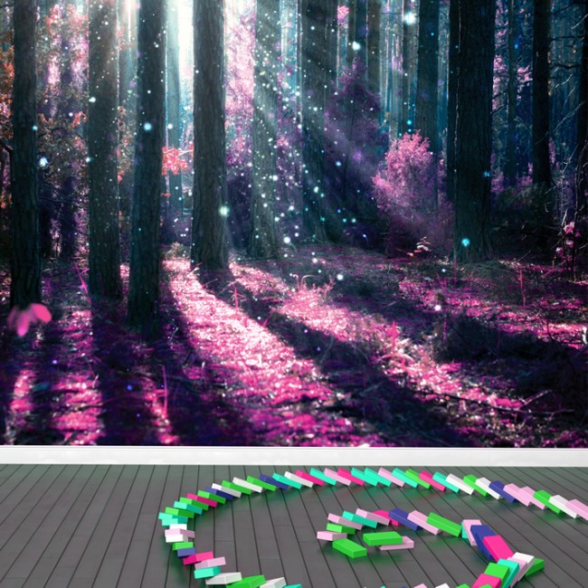 Enchanted forest wall mural purple tree photo wallpaper for Enchanted forest wall mural
