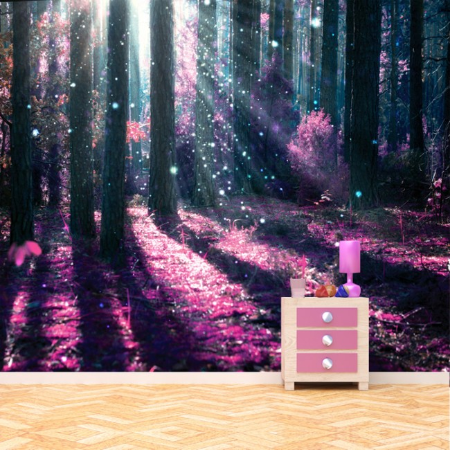 Enchanted forest wall mural purple tree photo wallpaper for Enchanted forest mural