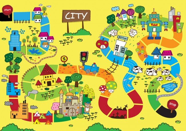 Cartoon City Map Wall Mural Wallpaper
