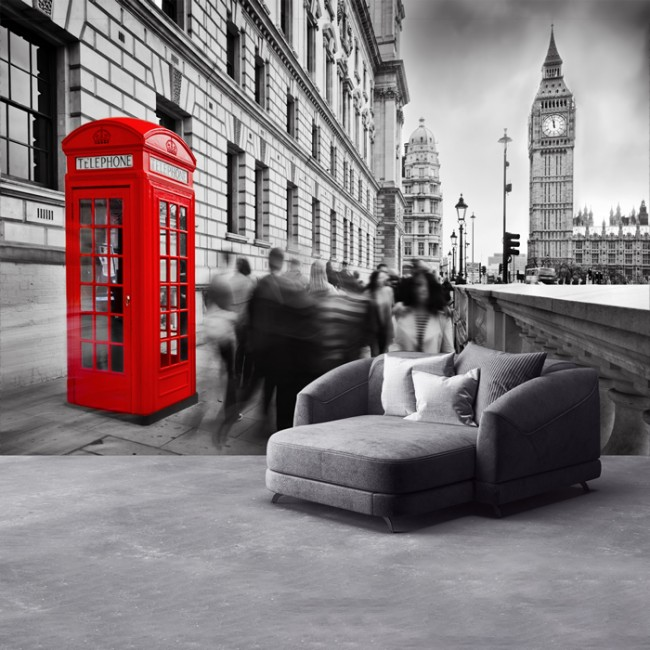 Red Telephone Box London Wall Mural Wallpaper