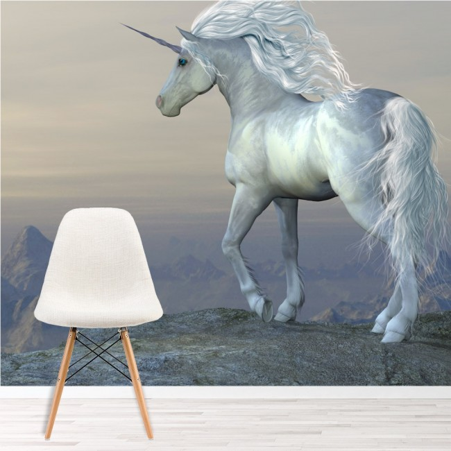 Beautiful white unicorn wall mural fairytale photo for Girls murals