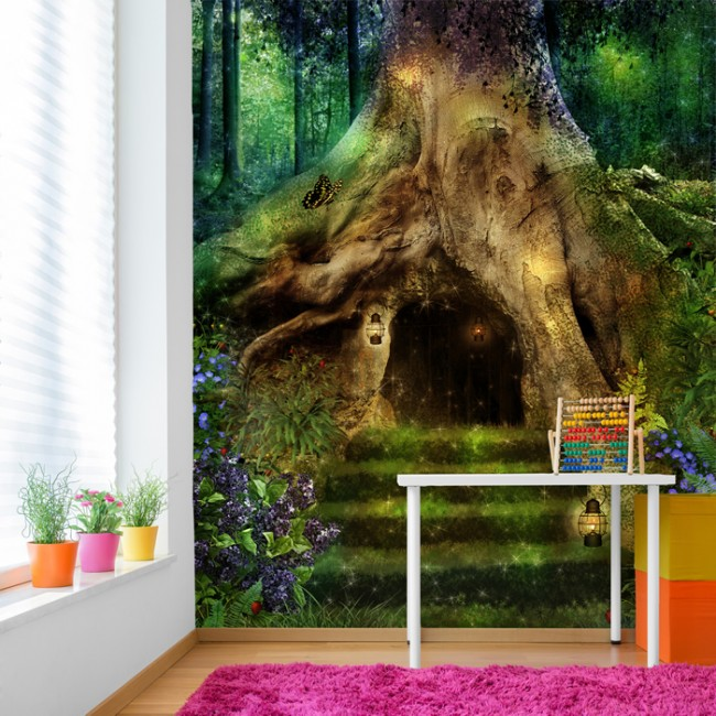 Magical Treehouse Fairy Forest Wall Mural Wallpaper