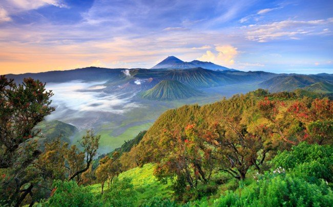 Bromo volcano wall mural mountain landscape photo for Mural indonesia