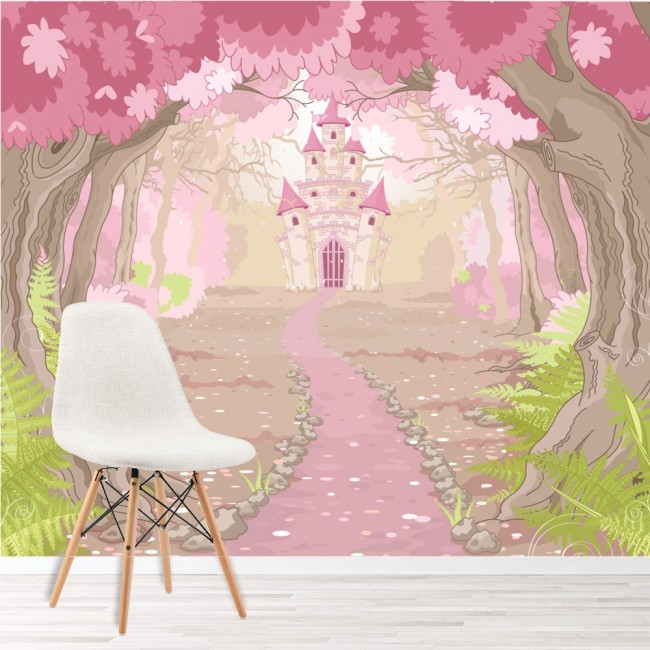 Pink princess castle wall mural fairytale photo wallpaper for Enchanted forest bedroom wall mural