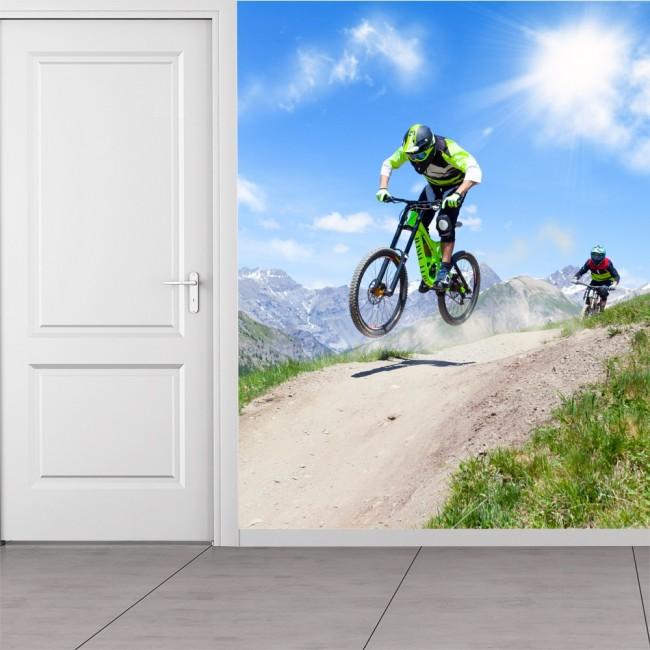 Mountain Bike Race Wall Mural Extreme Sports Photo
