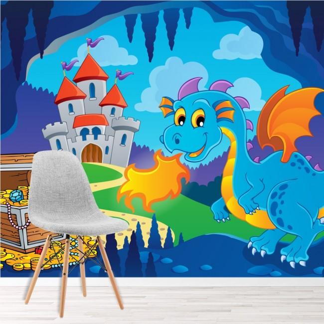Blue dragon wall mural castle treasure photo wallpaper for Dragon wall mural