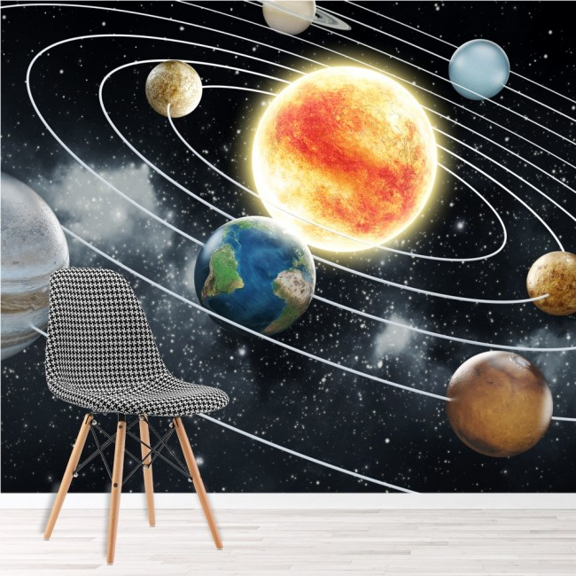 Space wall mural planets solar system photo wallpaper kids - Space solar system wallpaper ...