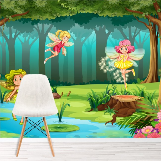Forest fairy wall mural fairytale fantasy photo for Fairy forest mural