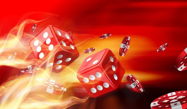 Red Dice On Fire Casino Wall Mural Wallpaper