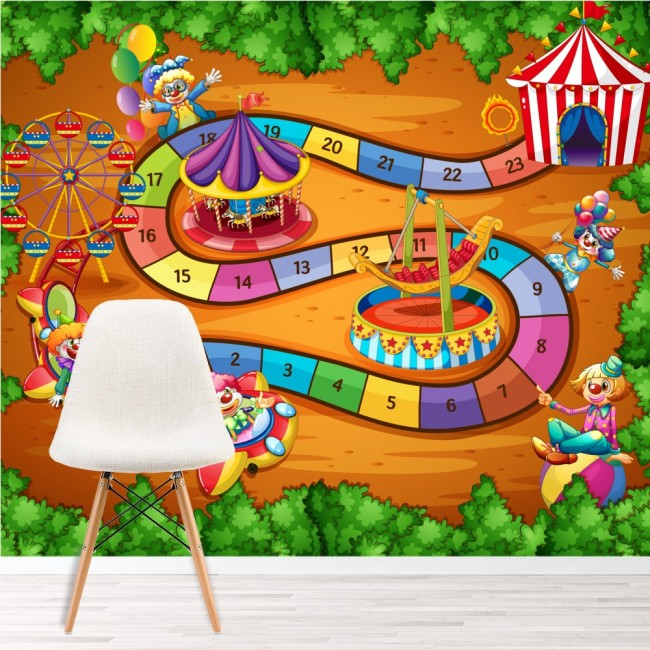Circus wall mural fun game photo wallpaper kids bedroom for Circus wall mural
