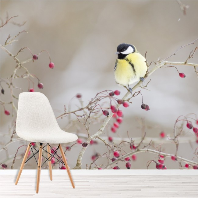 pink flowers wall mural yellow bird photo wallpaper girls. Black Bedroom Furniture Sets. Home Design Ideas