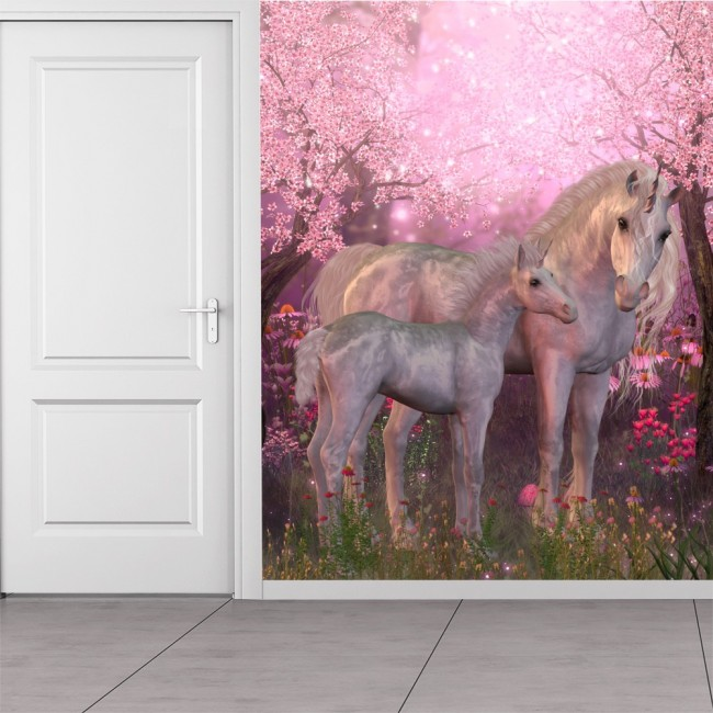 Pink Blossom Unicorn Wall Mural Wallpaper