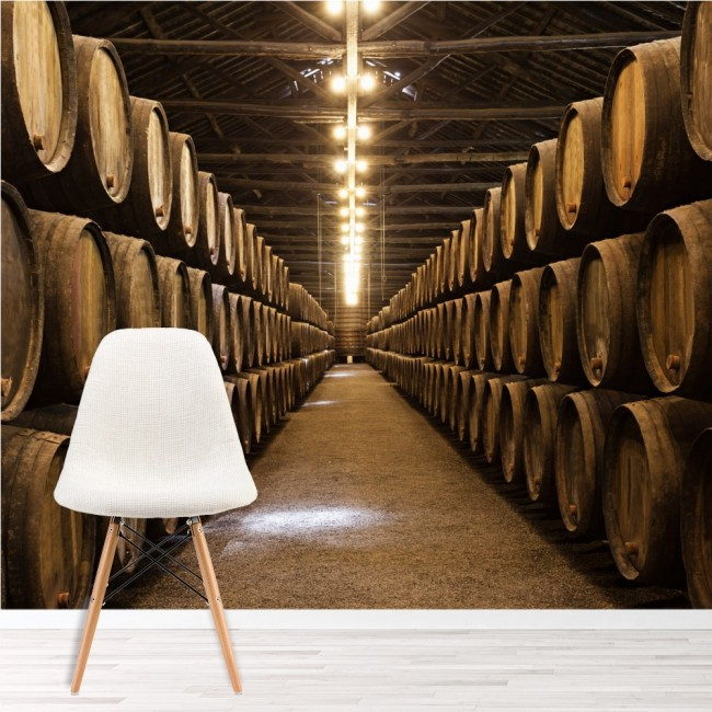 Wine Cellar Barrels Wall Mural Wallpaper
