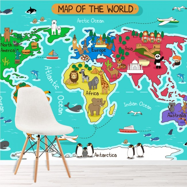 Cartoon animal world map wall mural map photo wallpaper for Children s wallpaper mural