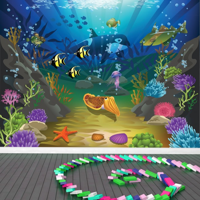 Under The Sea Wall Mural Ocean Scene Photo Wallpaper Kids