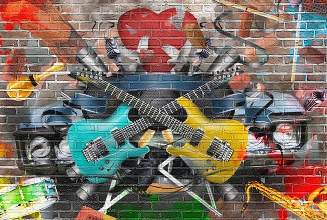 Guitar Music Wall Mural Graffiti Photo Wallpaper Kids Bedroom Home
