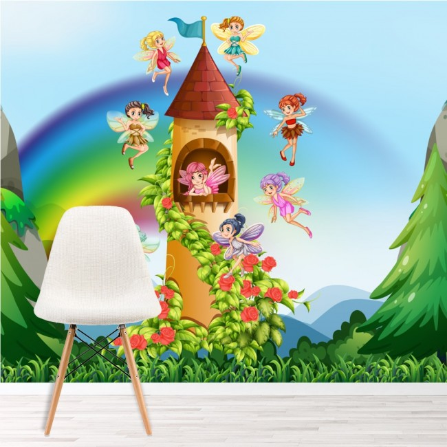 Fairy castle wall mural fairytale photo wallpaper girls for Fairy castle wall mural