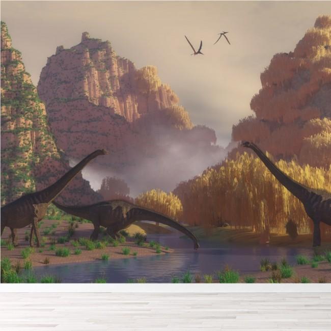 Dinosaur Scene Wall Mural Wallpaper