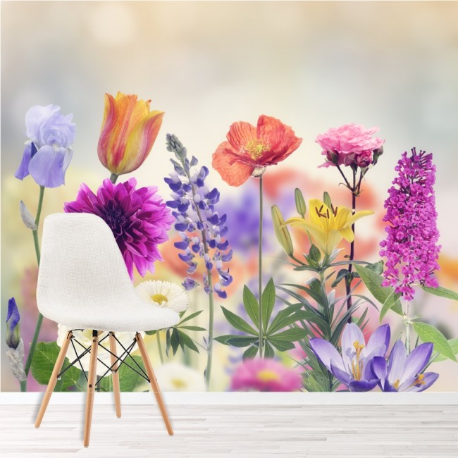 Vibrant Flowers Wall Mural Wallpaper