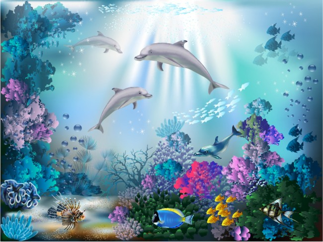 Dolphin wall mural under the sea photo wallpaper girls for Dolphin wall mural