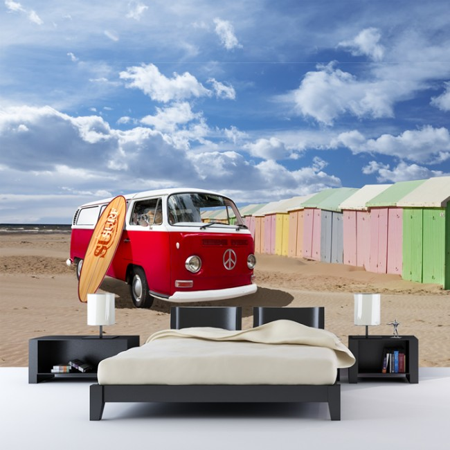 VW Campervan Beach Wall Mural Wallpaper