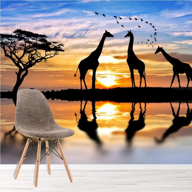 Giraffe Savanna Sunset Wall Mural Wallpaper