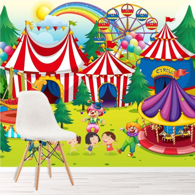 Circus wall mural fairground photo wallpaper kids bedroom for Circus wall mural