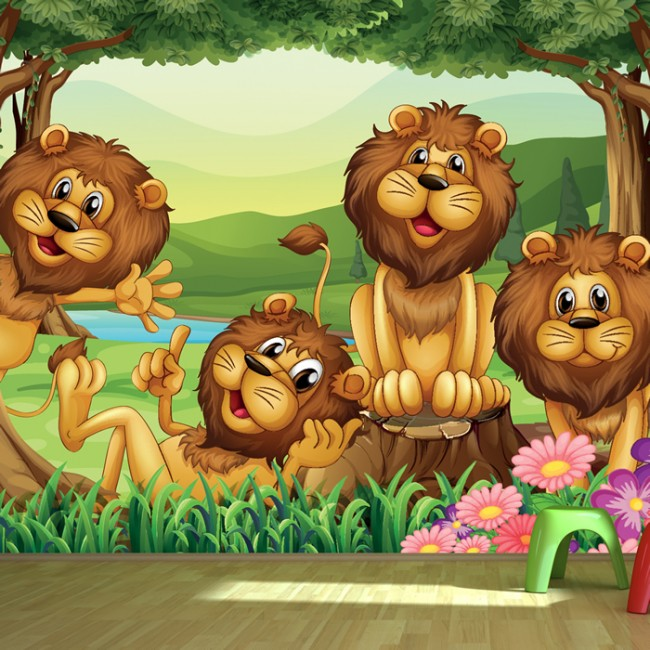 Cute Lion Wall Mural Jungle Animals Photo Wallpaper Kids