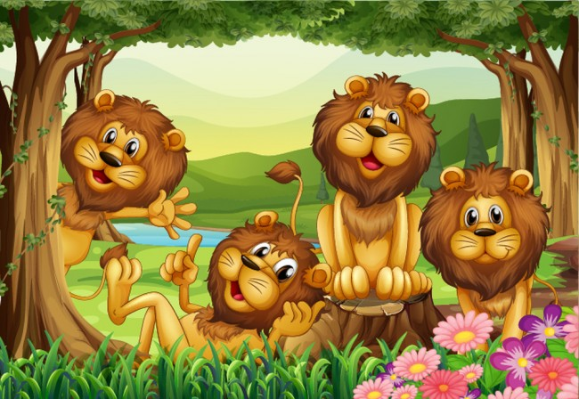 Cute Lion Wall Mural Jungle Animals Photo Wallpaper Kids