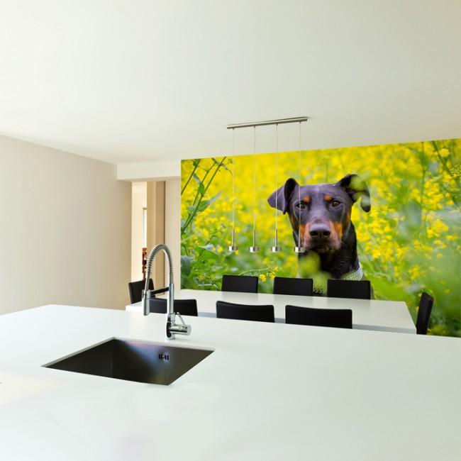 Dobermann Dog Wall Mural Flower Photo Wallpaper Bedroom