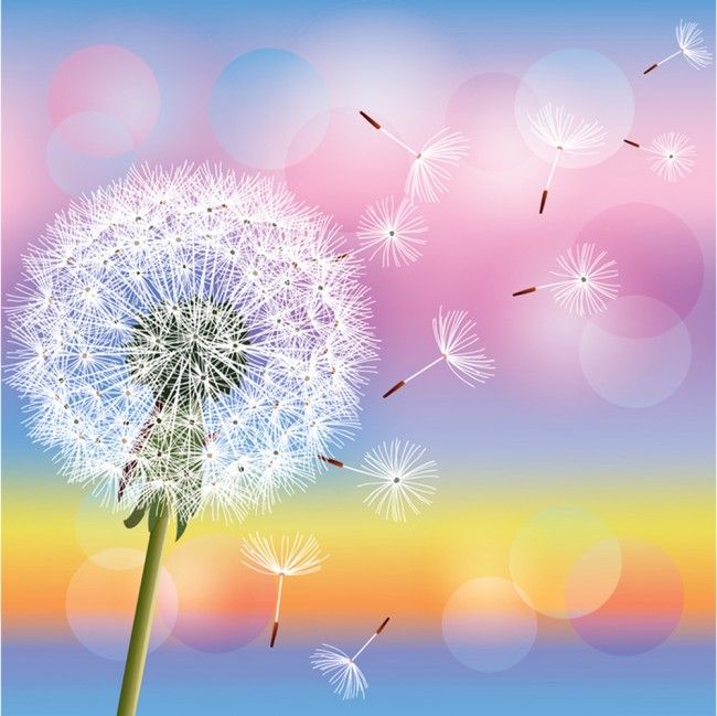 Rainbow Dandelion Wall Mural Wallpaper
