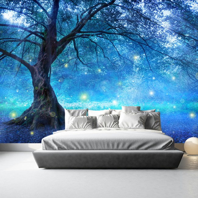 Blue fairy tree wall mural fairytale forest photo for Fairy mural wallpaper
