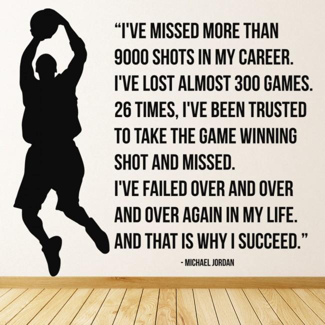 michael jordan 9000 shots basketball quote wall sticker