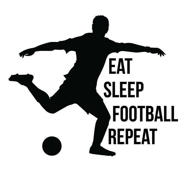 Eat Sleep Football Repeat Sports Quote Wall Sticker