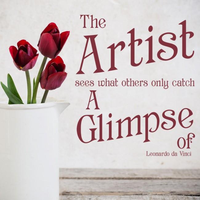 The Artists Sees... Wall Sticker Leonardo da Vinci Quote Wall Decal ...