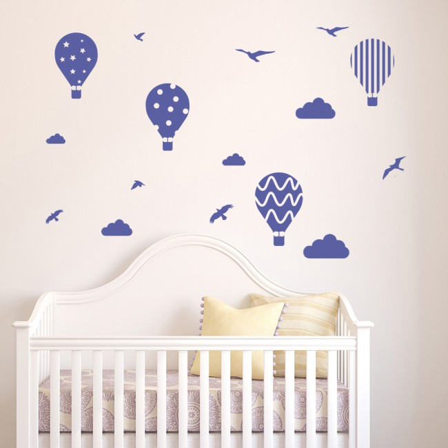 Hot Air Balloon Wall Sticker Set Birds Clouds Wall Decal