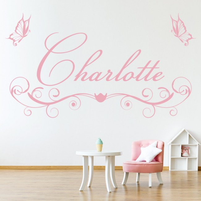 personalised name butterfly swirl wall sticker