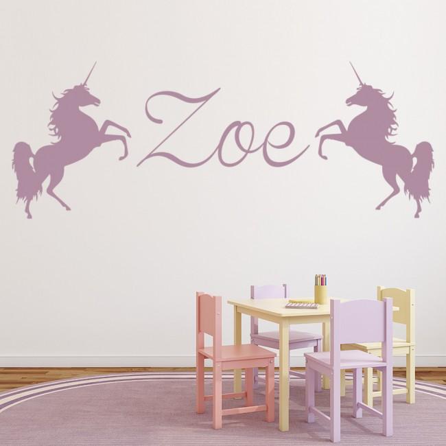 Personalised Name Wall Sticker Unicorn Wall Decal Girls
