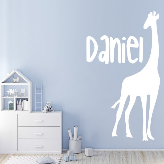 personalised name giraffe wall sticker