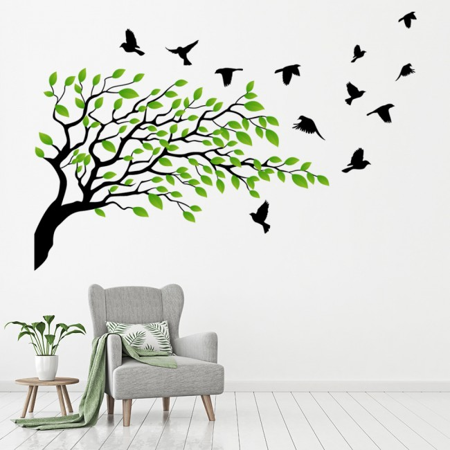 Green Oak Tree Wall Sticker WS-41355